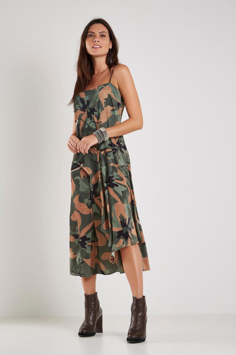 Vestido Est Floral Camuflado Midi