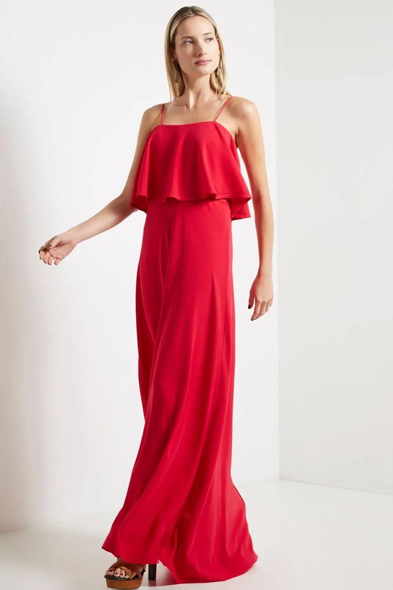 vestido longo babado busto vermelho