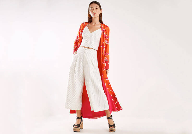 kimono oversized vermelho conjunto branco