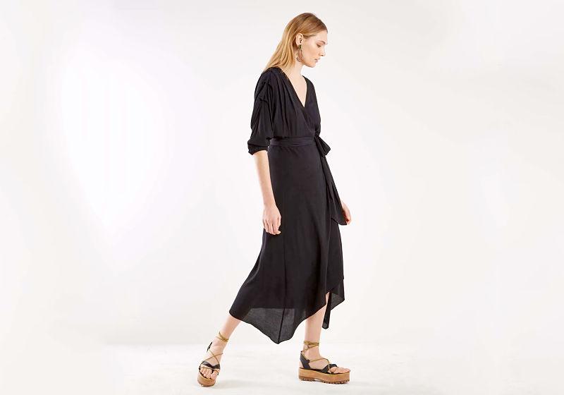 vestido preto assimétrico
