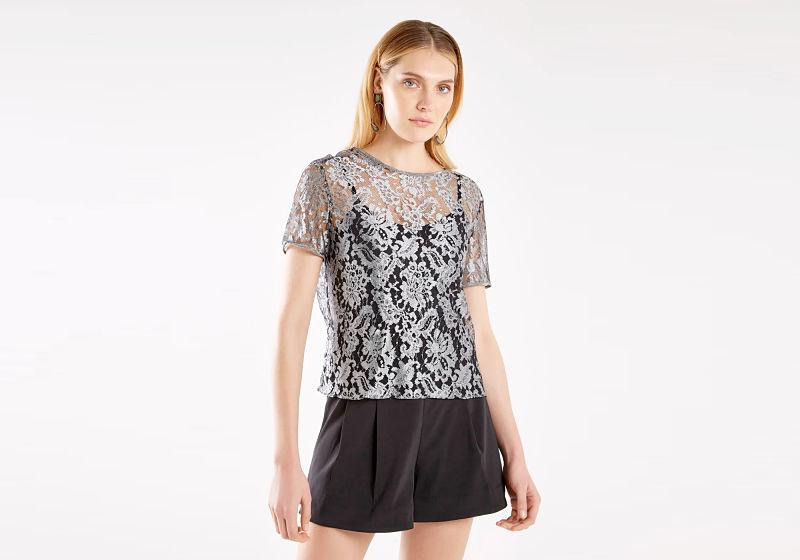 t-shirt de renda transparente prata