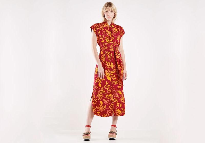 vestido chemise midi com amarração