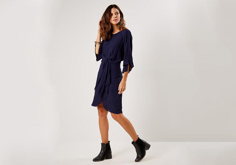 vestido curto manga