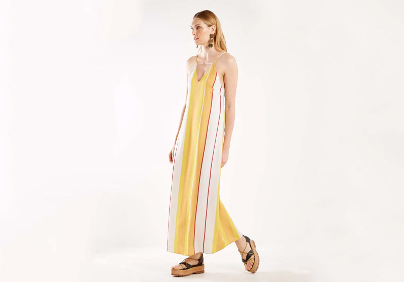 vestido longo listras amarelas