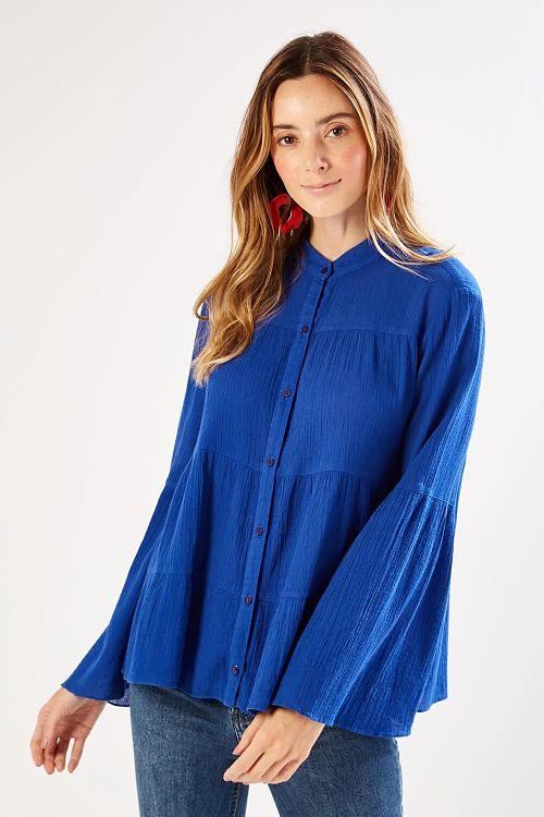 blusa azul royal manga sino