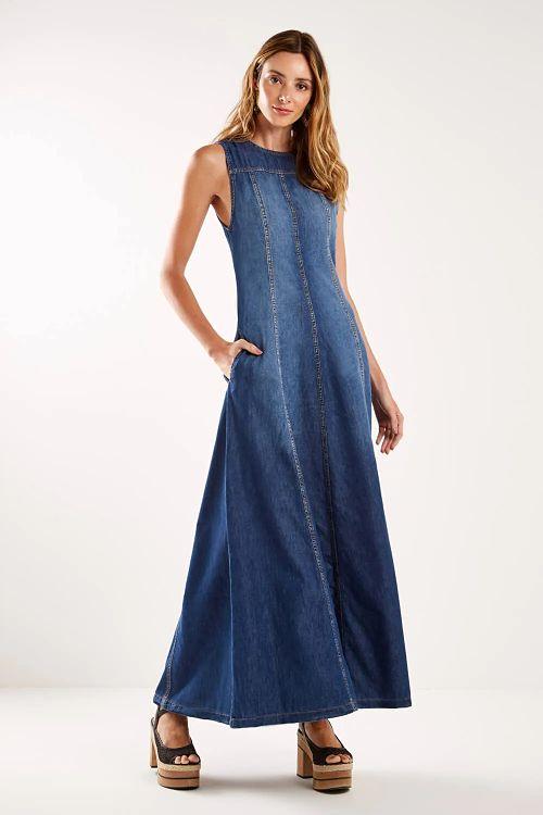 vestido jeans longo evasê