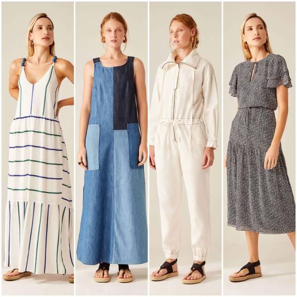4 mulheres vestindo diferentes estilos de roupas