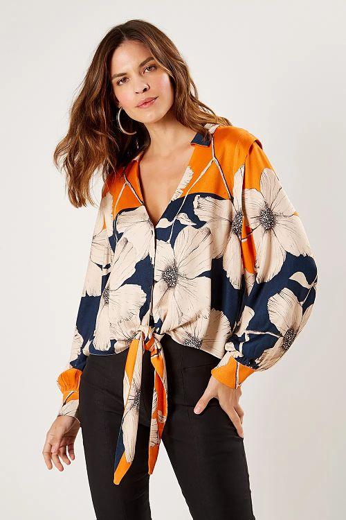 camisa nozinho estampa floral