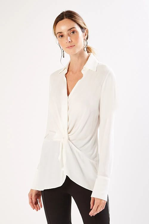 camisa transpassada social branca